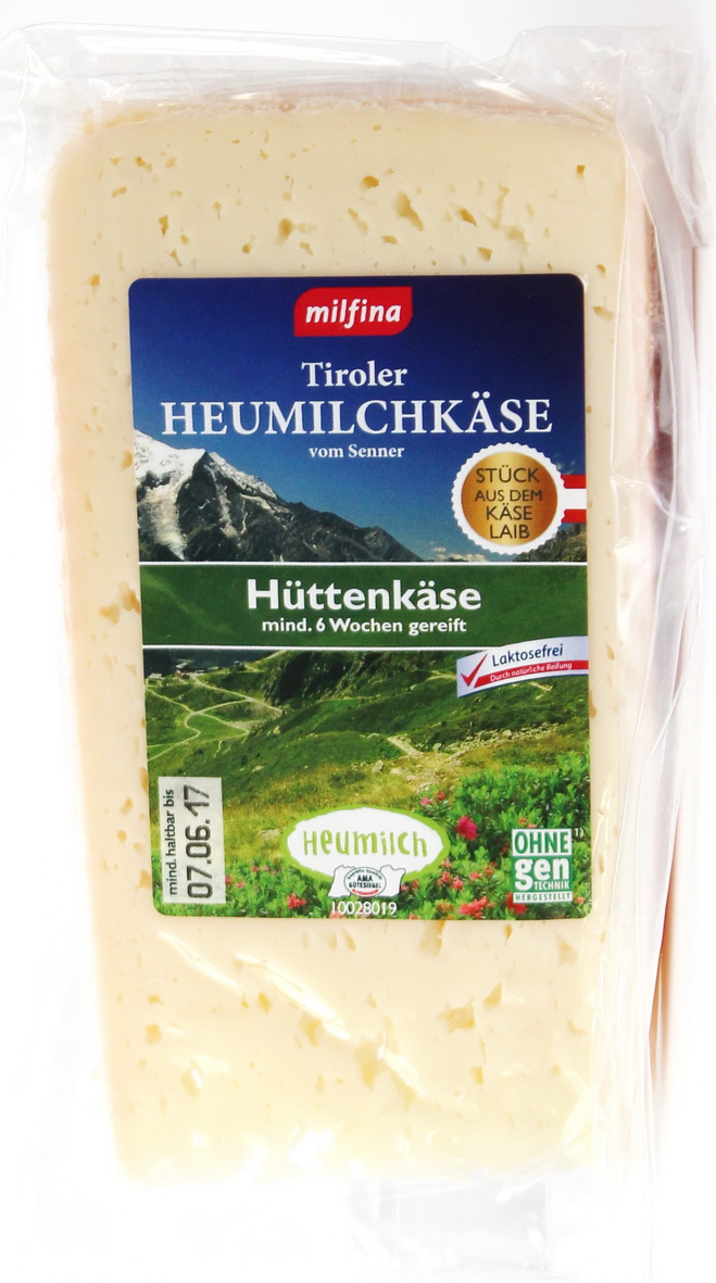 Milfina (Aldi) · Tiroler Heumilchkäse vom Senner Hüttenkäse am Stück ...